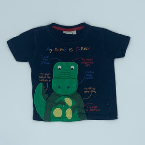 Gently Worn Jojo Maman Bebe navy t-rex t-shirt size 2-3 years
