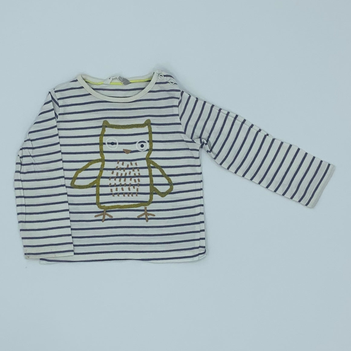 Gently Worn John Lewis striped owl top size 9-12 months