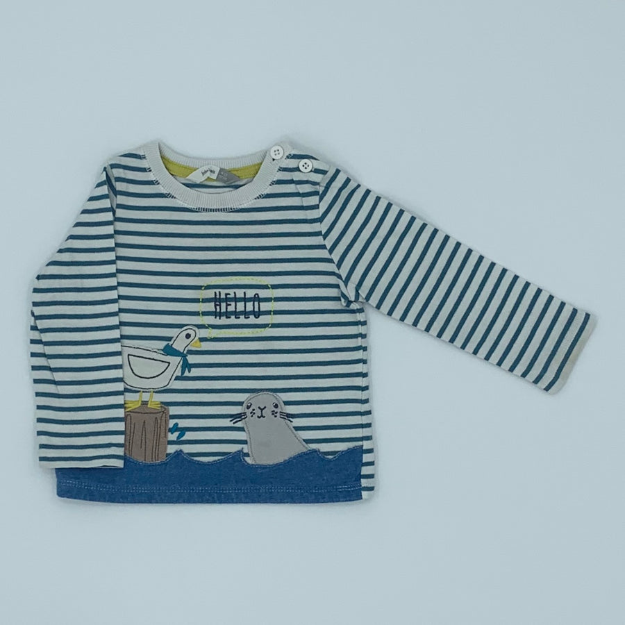 Hardly Worn John Lewis striped sea otter top size 9-12 months