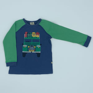 Needs TLC Frugi blue defender top size 2-3 years