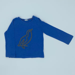 Gently Worn John Lewis blue penguin top size 18-24 months