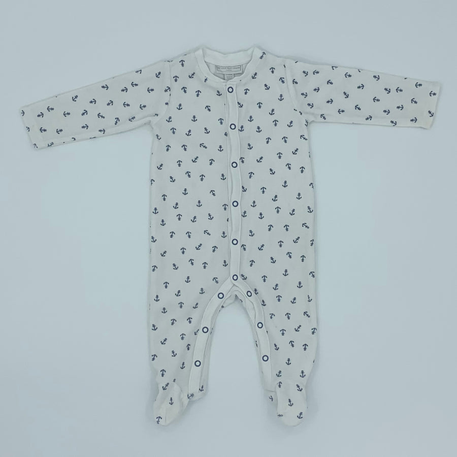 Hardly Worn The White Company velour anchor sleepsuit size 3-6 months