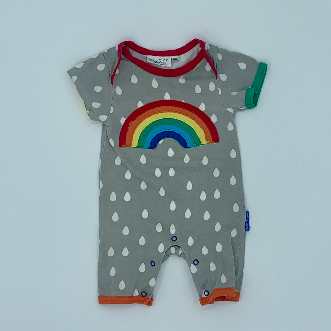Gently Worn Toby Tiger grey raindrops romper size 3-6 months