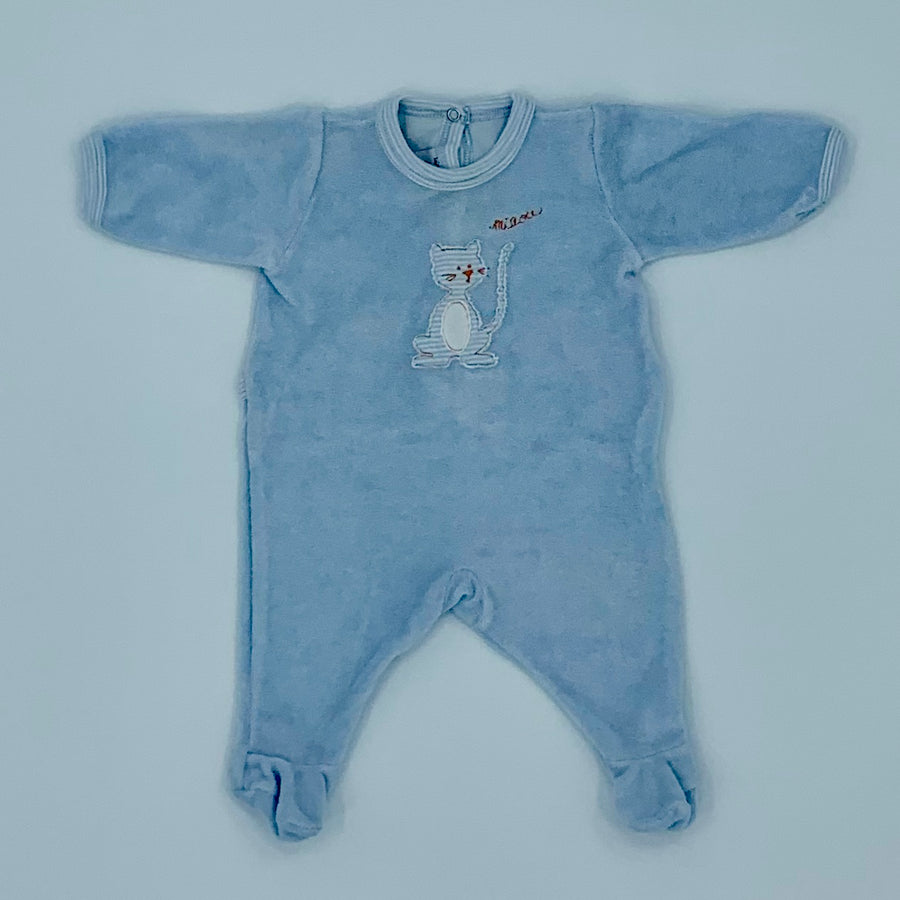 Needs TLC Petit Bateau blue velour sleepsuit size 0-1 months