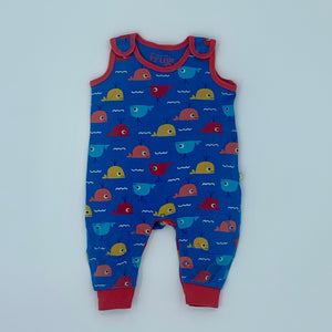 Gently Worn Frugi whale romper dungarees size 3-6 months