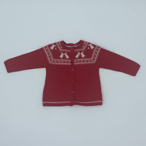 Gently Worn John Lewis red cardigan size 6-9 months