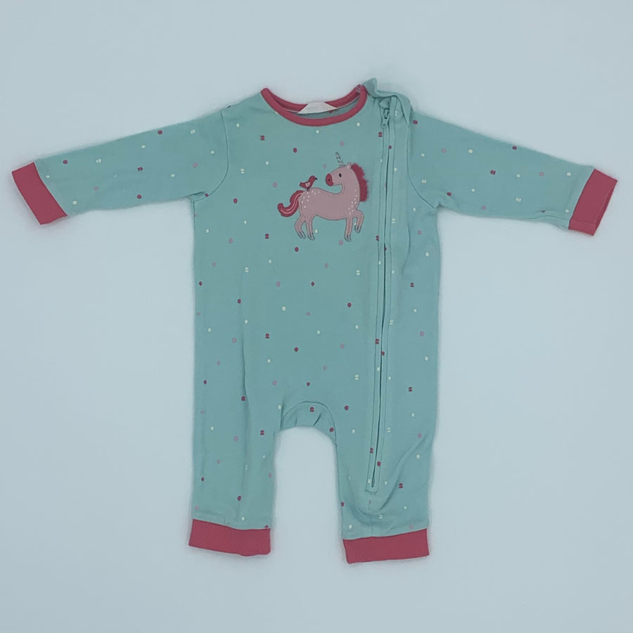 Gently Worn John Lewis blue unicorn sleepsuit size 3-6 months