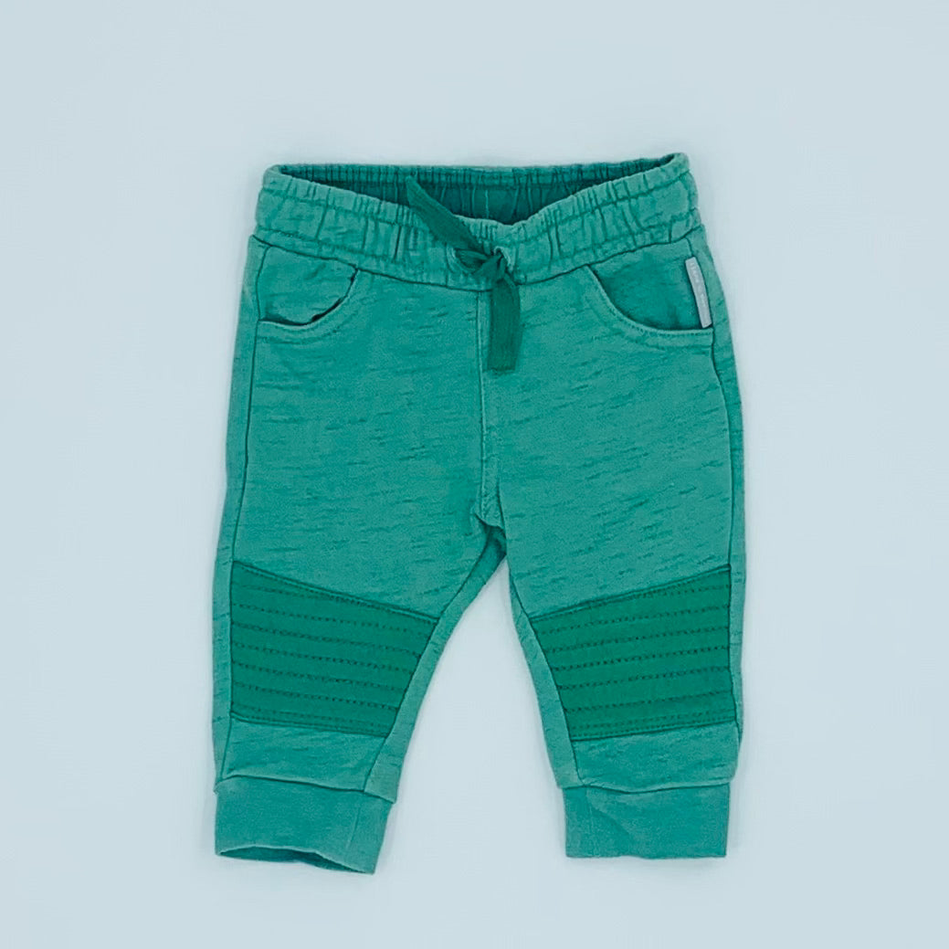 Hardly Worn Polarn O Pyret green stitching joggers size 2-4 months