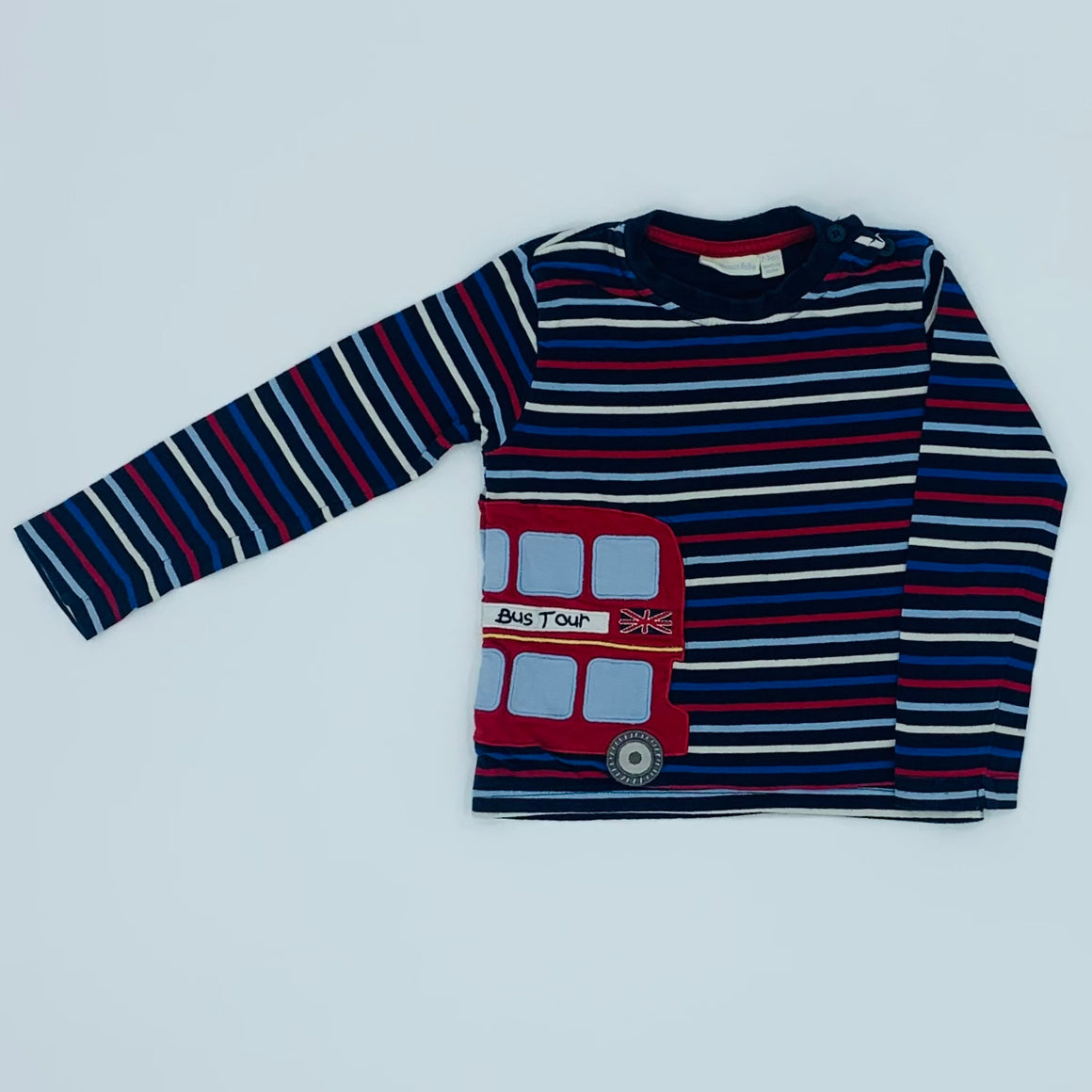 Gently Worn Jojo Maman Bebe striped London top size 2-3 years