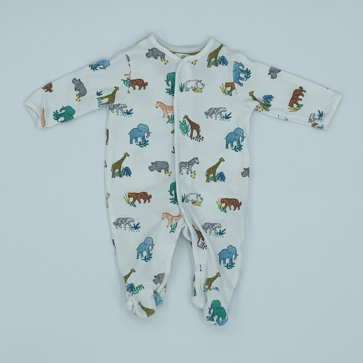 Hardly Worn John Lewis african animal sleepsuit size Newborn