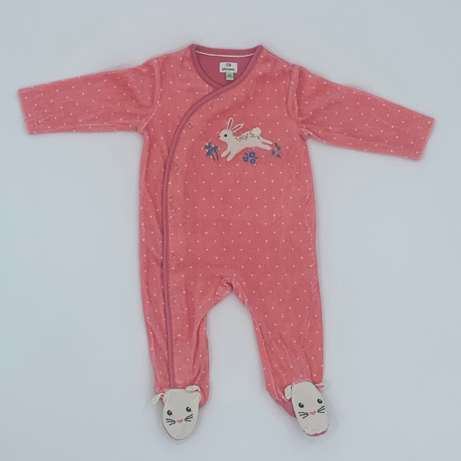 Hardly Worn John Lewis pink velour sleepsuit size 3-6 months
