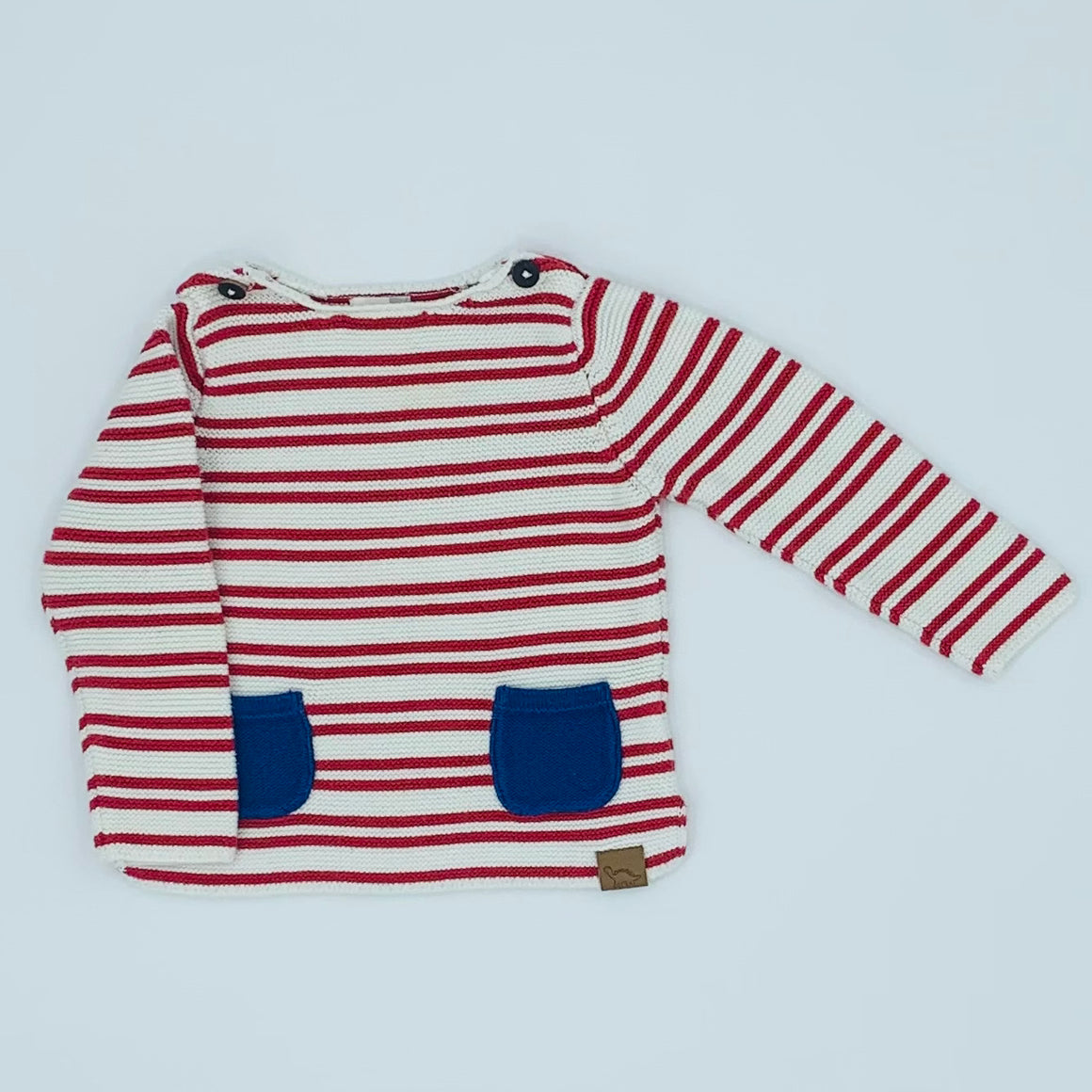 Hardly Worn John Lewis red striped knit jumper size 9-12 months