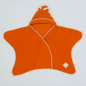 Hardly Worn Tuppence & Crumble orange fleece snugglesuit size 0-6 months