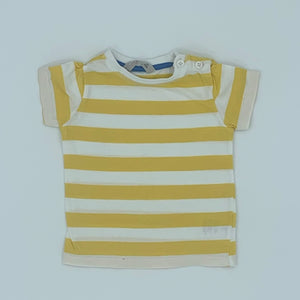 Gently Worn John Lewis yellow striped t-shirt size 6-9 months