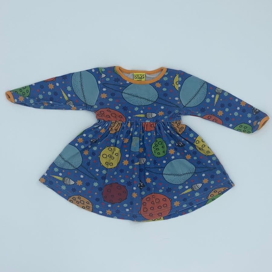 Gently Worn Duns of Sweden blue space dress size 9-12 months