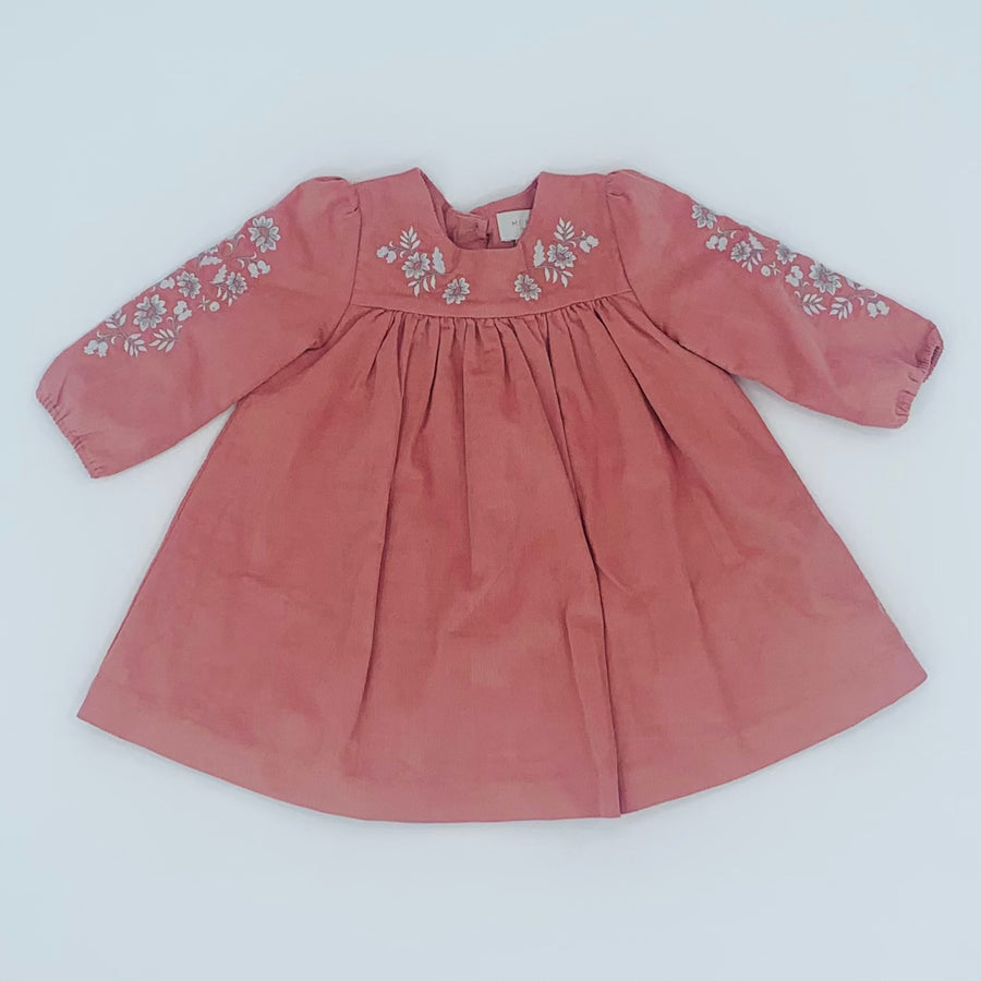 Hardly Worn John Lewis pink corduroy dress size 6-9 months