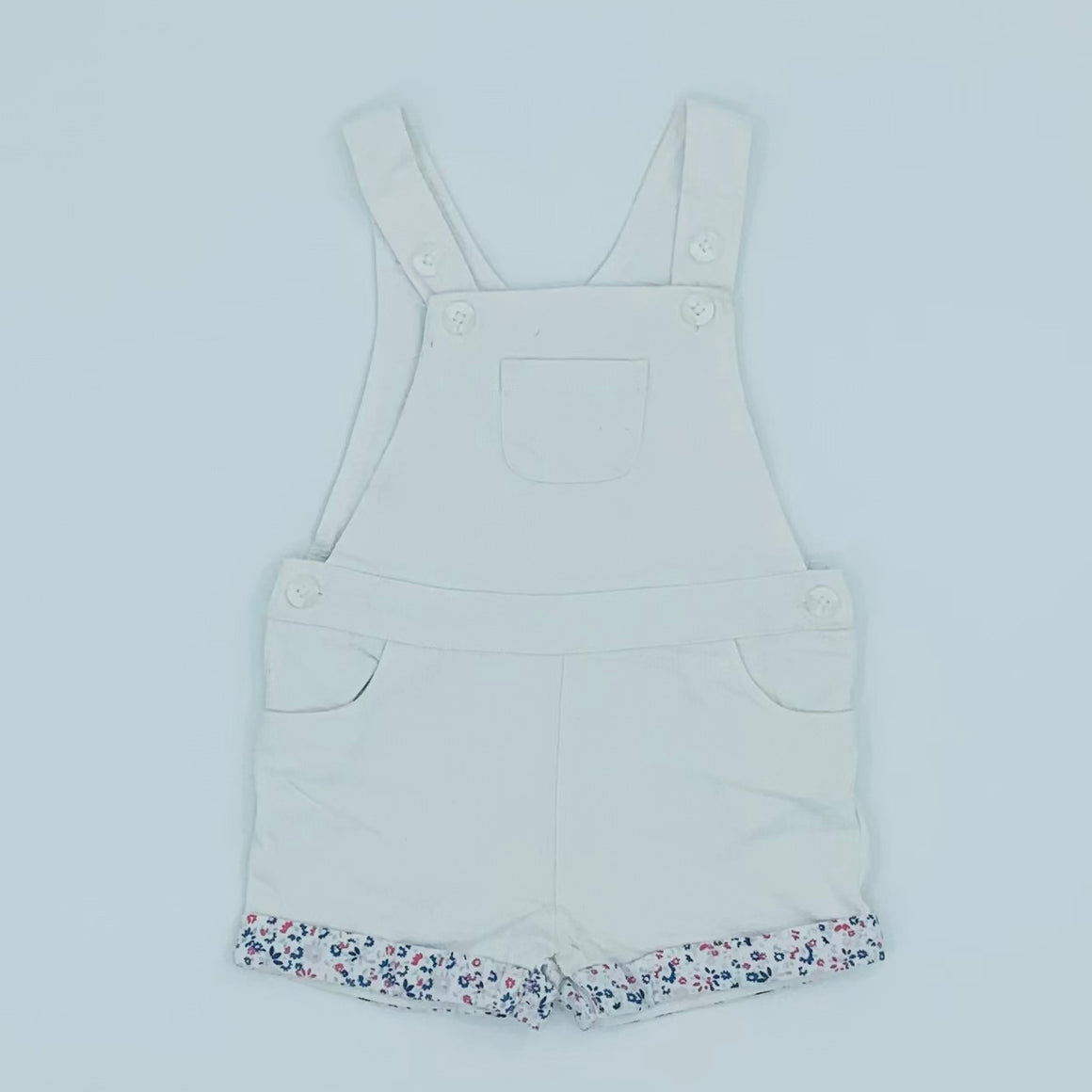Gently Worn The White Company white dungaree shorts size 12-18 months