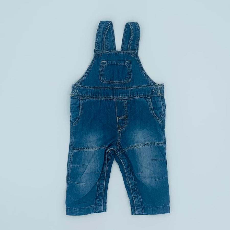 Hardly Worn Polarn O Pyret denim dungarees size 4-6 months