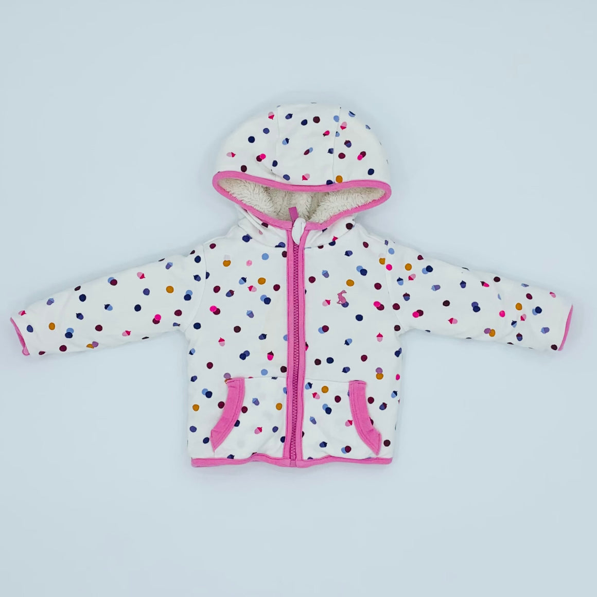 Gently Worn Joules reversible zip-up hoodie size 6-9 months