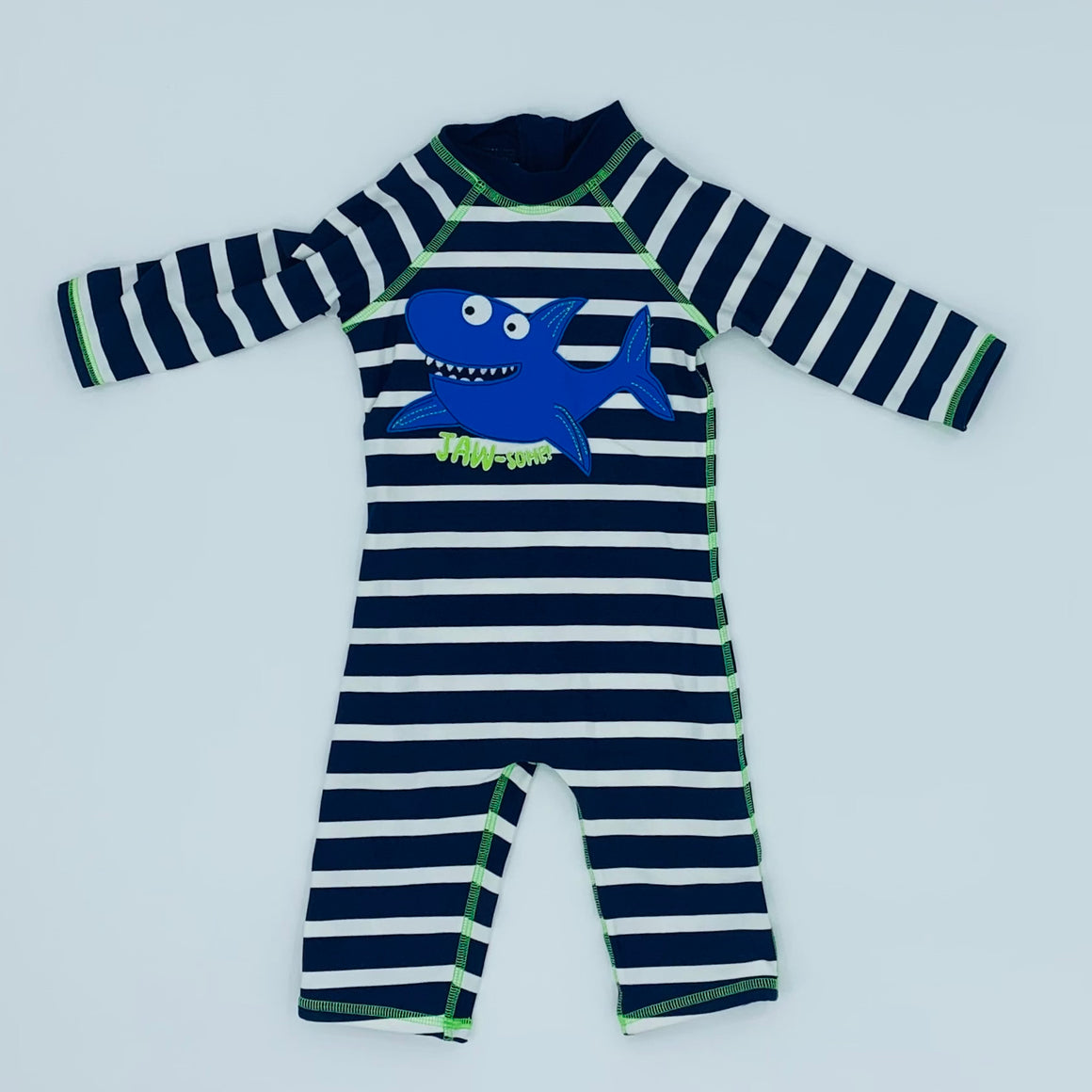 New Blue Zoo striped shark sunsuit size 18-24 months