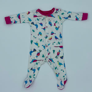 Gently Worn Joules white bird sleepsuit size 0-3 months