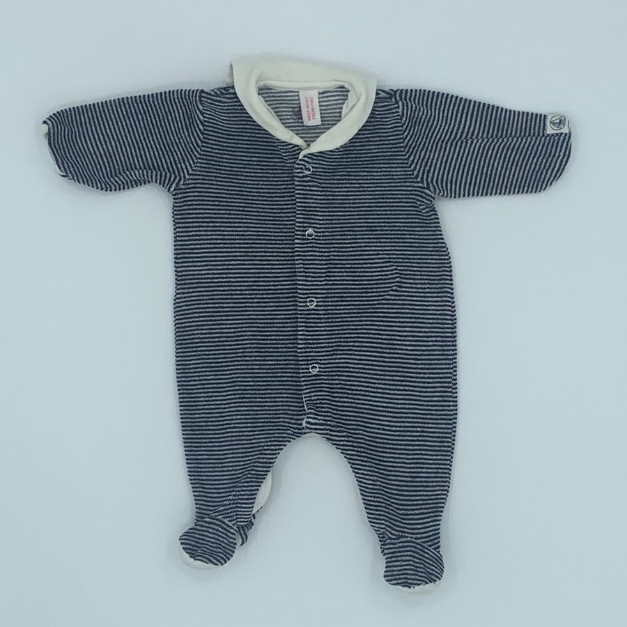 Gently Worn Petit Bateau navy stripe velour sleepsuit size Newborn