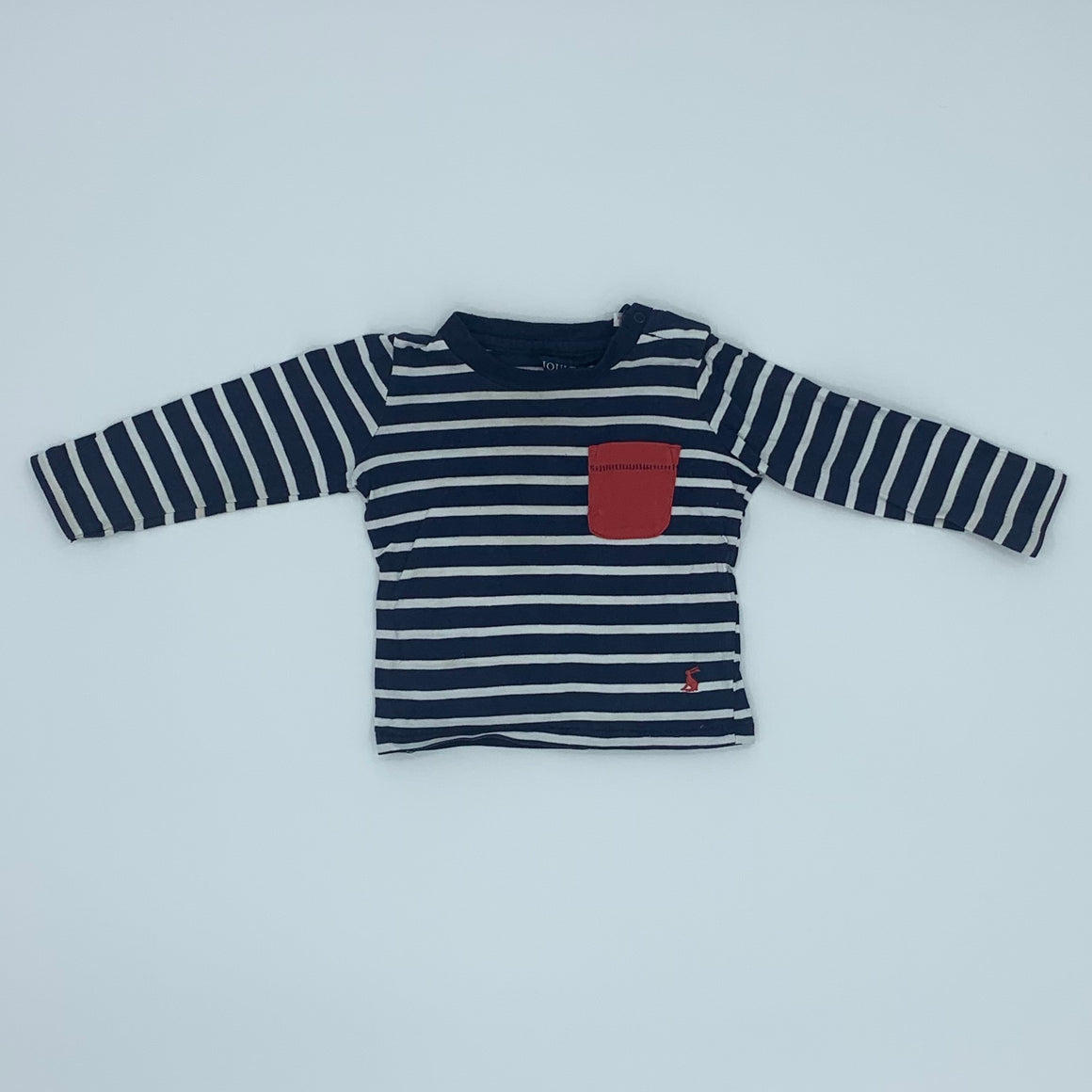 Gently Worn Joules striped red pocket top size 9-12 months