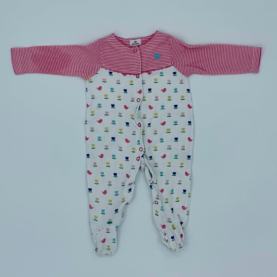 Gently Worn John Lewis striped flower sleepsuit size 3-6 months