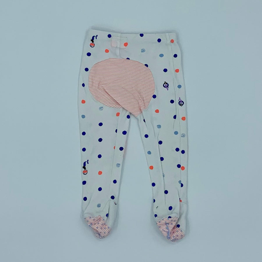 Gently Worn Joules white spot footed leggings size 9-12 months