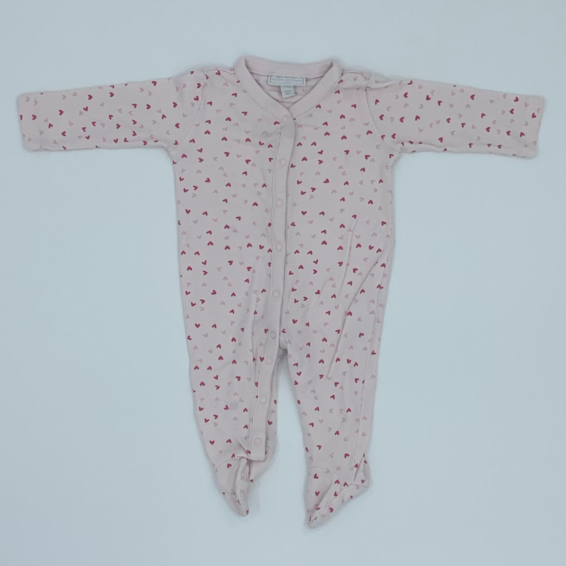 Gently Worn The White Company pink heart sleepsuit size 3-6 months