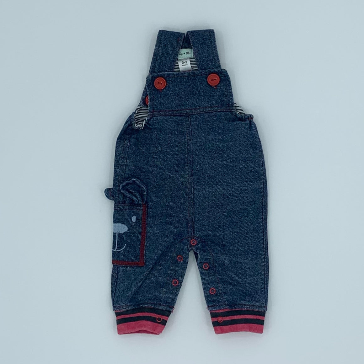 Hardly Worn Lilly & Sid denim dungarees size 0-3 months