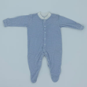 Hardly Worn John Lewis blue striped sleepsuit size 0-3 months