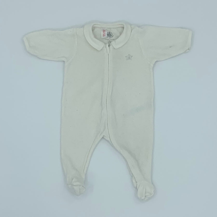 Gently Worn Petit Bateau cream velour sleepsuit size Newborn