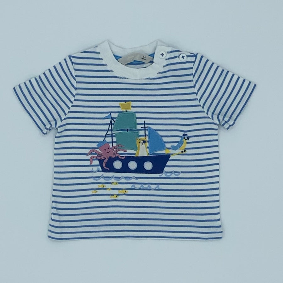 Hardly Worn John Lewis striped boat t-shirt size 6-9 months