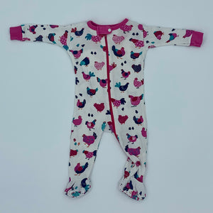 Needs TLC Hatley white hen zip-up sleepsuit size 0-3 months