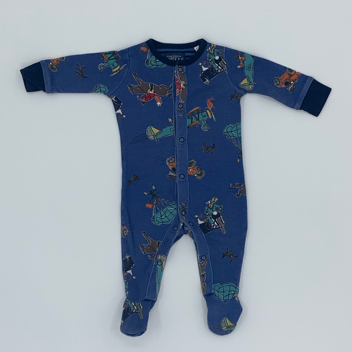 Gently Worn Joules blue sleepsuit size 0-3 months