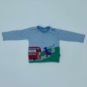 Gently Worn Jojo Maman Bebe London bus top size 6-12 months