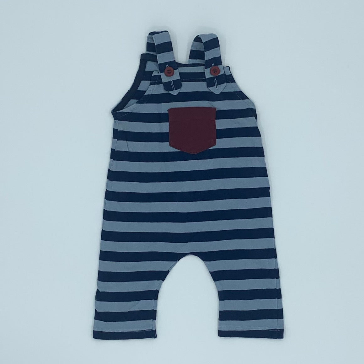 Gently Worn Lilly & Sid striped romper dungarees size 0-3 months