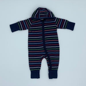 Gently Worn Polarn O Pyret hooded romper size 2-4 months