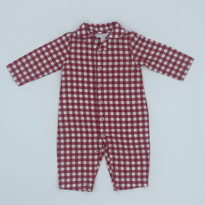 Hardly Worn The White Company red checked romper size 6-9 months