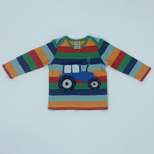 Gently Worn Frugi striped tractor top size 6-12 months