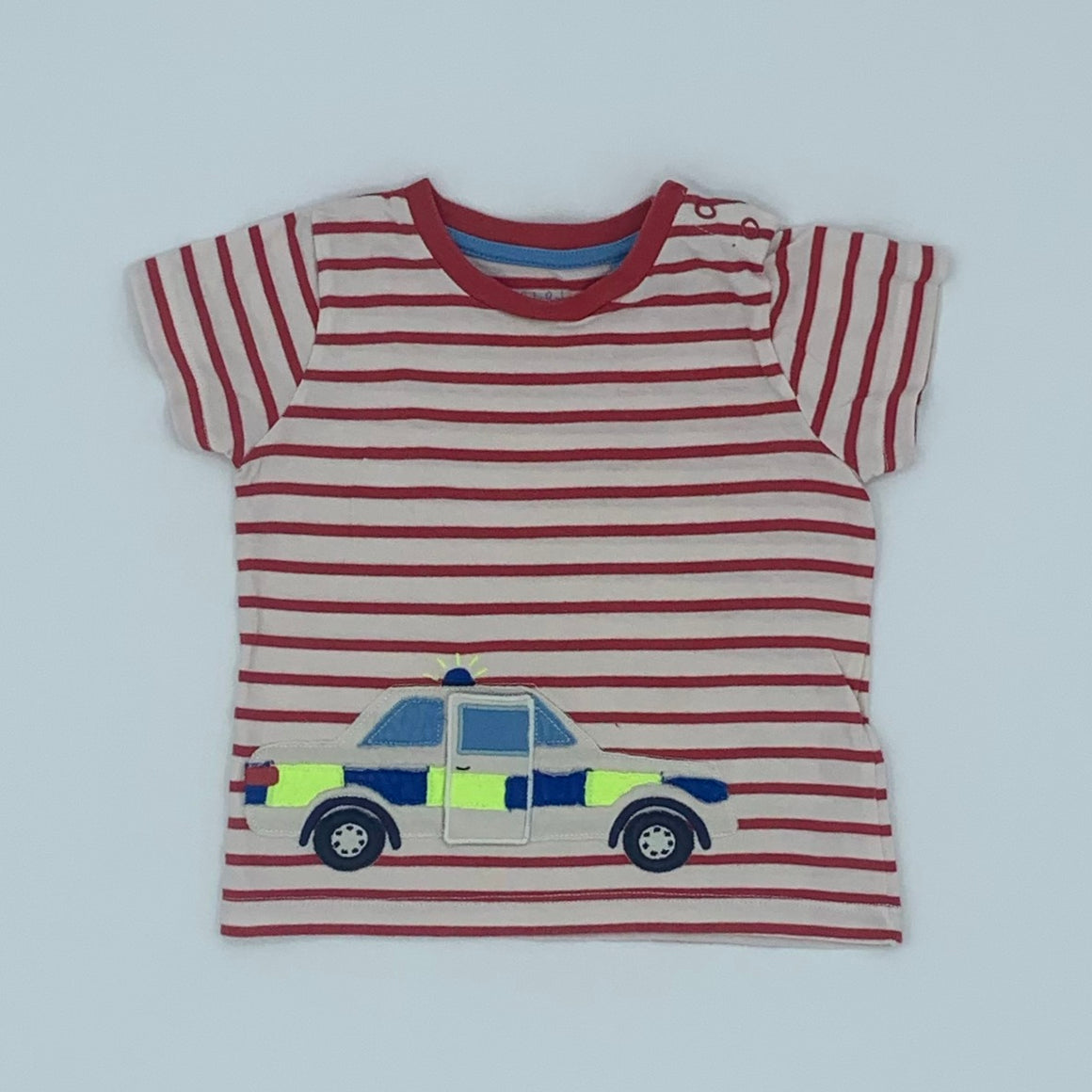 Gently Worn Boden striped police car t-shirt size 12-18 months