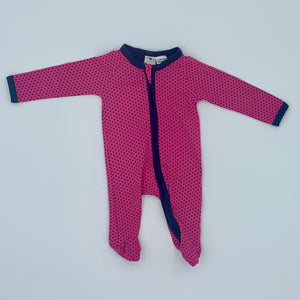 Hardly Worn Korango pink spot zip-up sleepsuit size 0-3 months