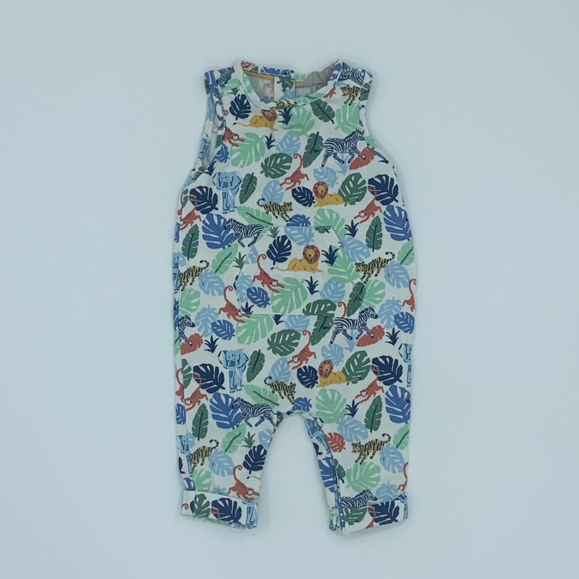 Gently Worn John Lewis jungle romper dungarees size 0-3 months