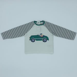 Gently Worn Boden striped racing car top size 6-12 months