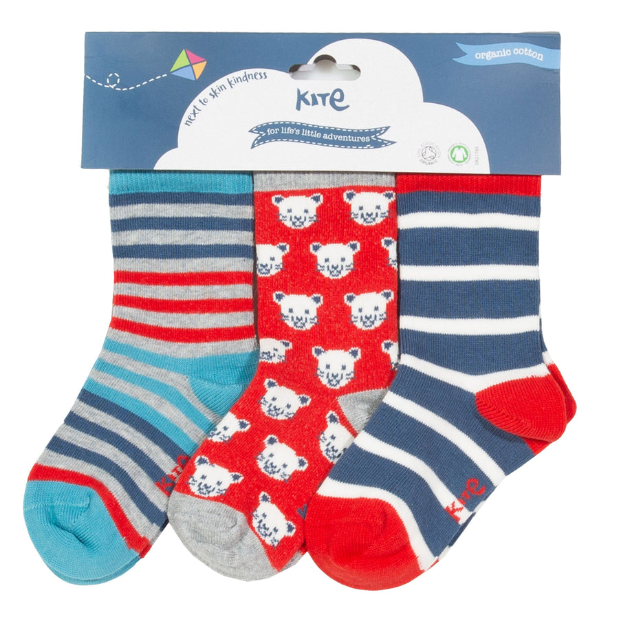 Kite 3 pack cool cat socks