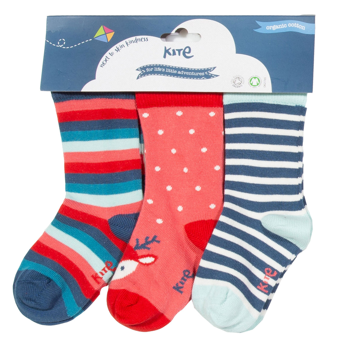 Kite 3 pack reindeer socks