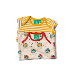 Bodysuit 2 pack with Leo Lion print & Gold stripe