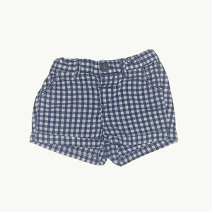 Gently Worn Boden blue check shorts size 0-3 months