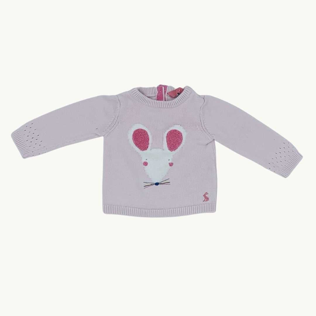Gently Worn Joules mouse knit jumper size 0-3 months
